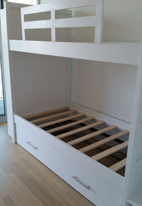 The Other Side Includes A Flip Up Desk With Storage Shelves Cubbies Above Bed Is Also Designed To Be Movable And Can Assembled Disassembled